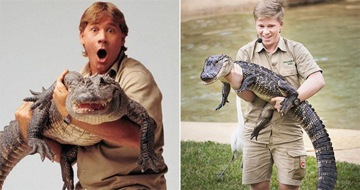 steve and robert irwin carrying crocodile