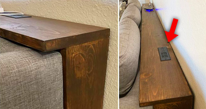 table with integrated outlets