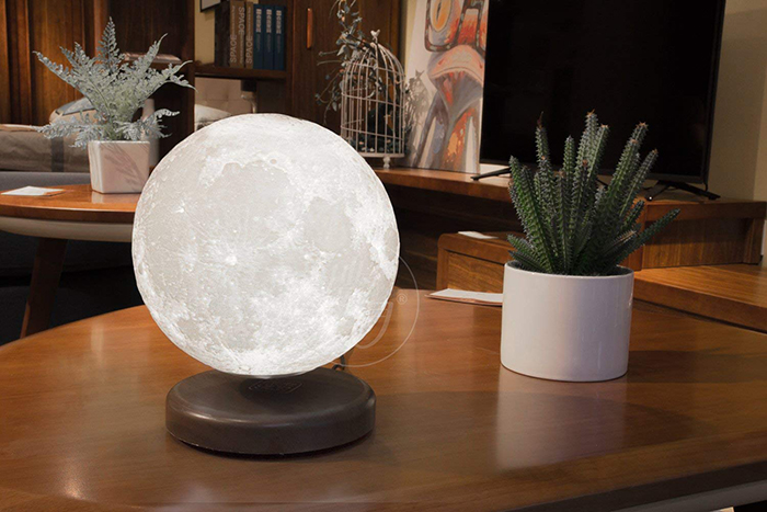 the levitating moon lamp in home setting