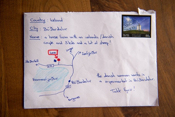 tourist draws map on envelope