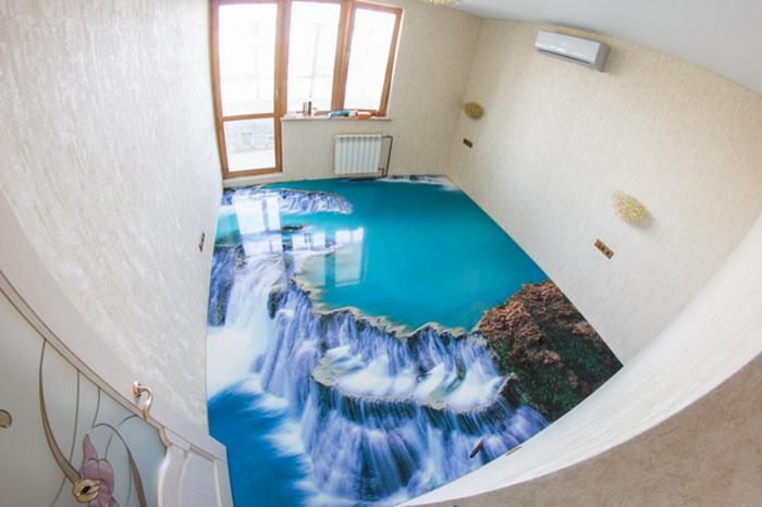3d epoxy floors bathroom waterfall