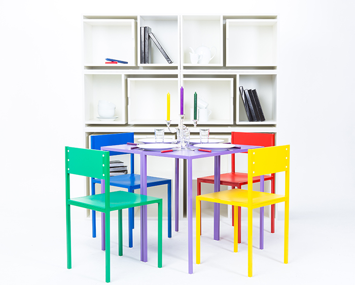 As If From Nowhere Modular Bookcase with Dinging Tables and Chairs