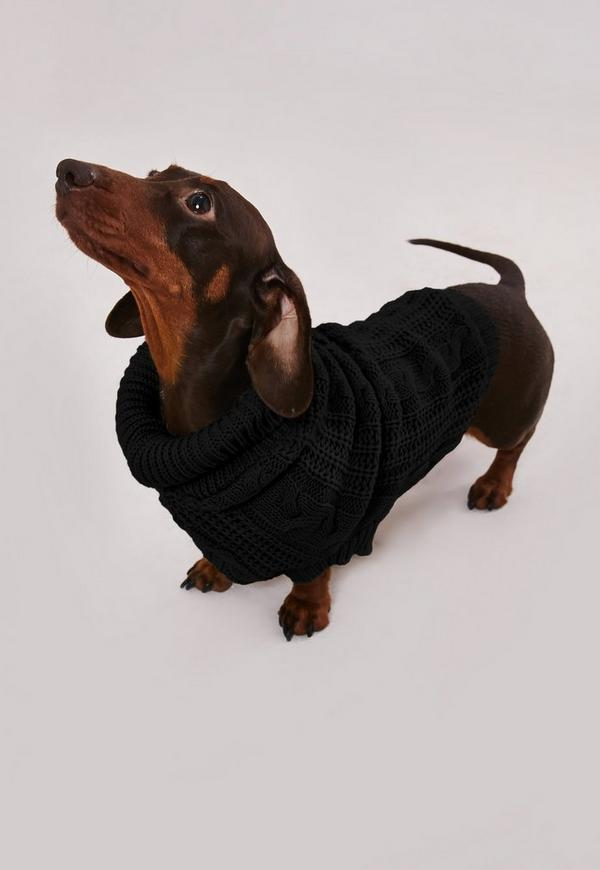 Black Cable Knt Dog Sweater