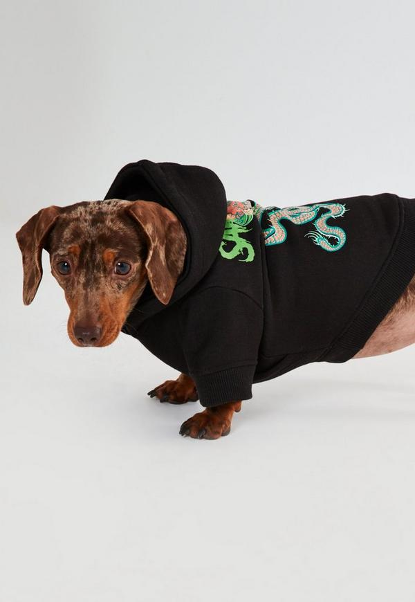Black Dragon-Printed Dog Hoodie