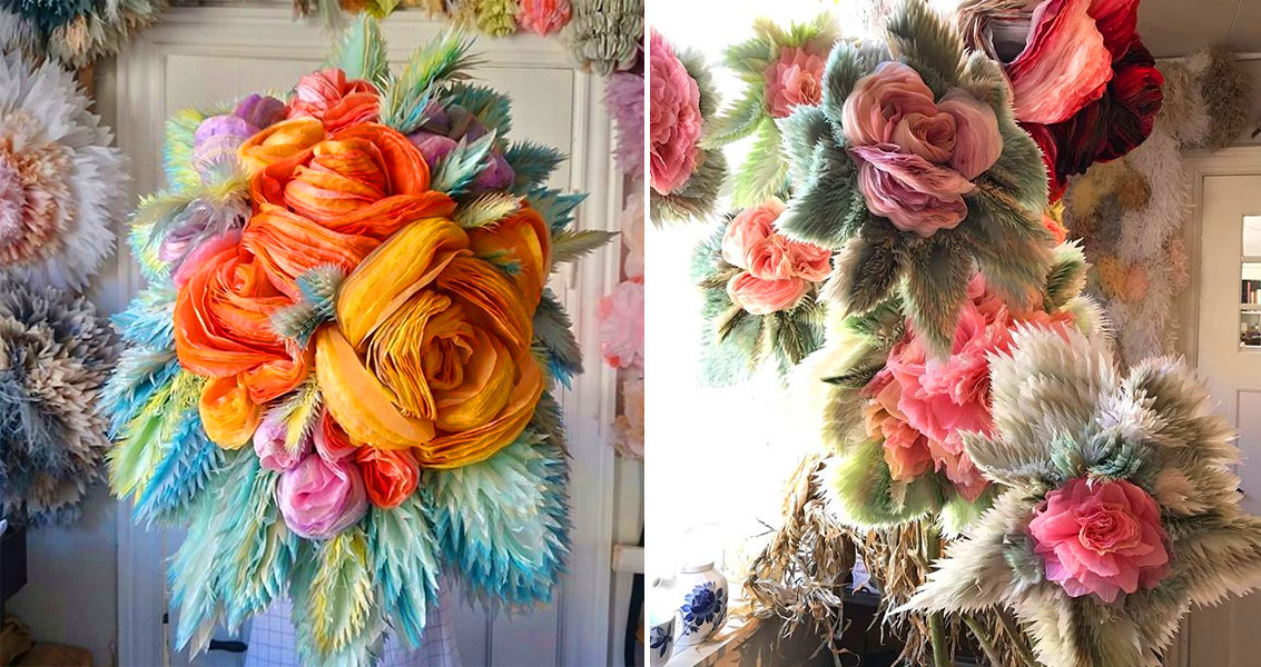 Bouquets of tissue paper flowers