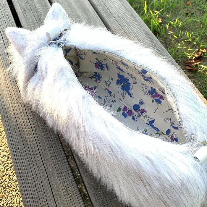 Faux Fur Cat-shaped Purse Interior