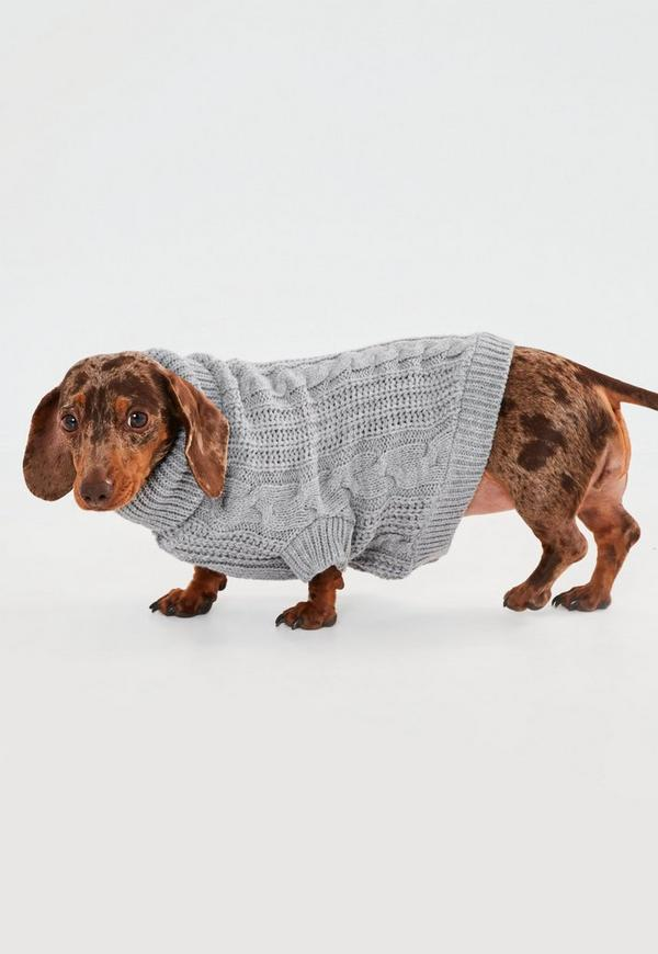 Gray Cable Knit Sweater for Dogs