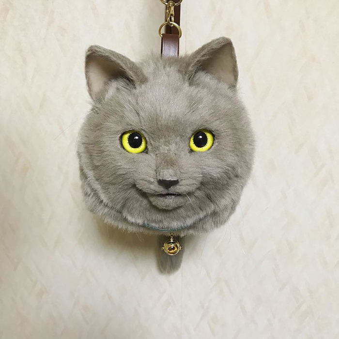 Gray Cat-shaped Bag with Bell