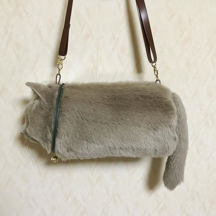 Gray Cat-shaped Bag with Sling