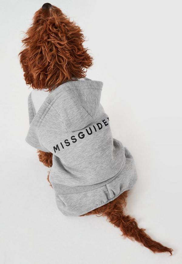 Grey Marl Missguided-print Hoodie for dogs