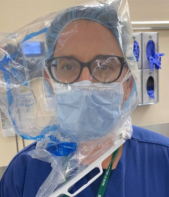 John Henao Overworked Doctor Selfie with Improvised PPE