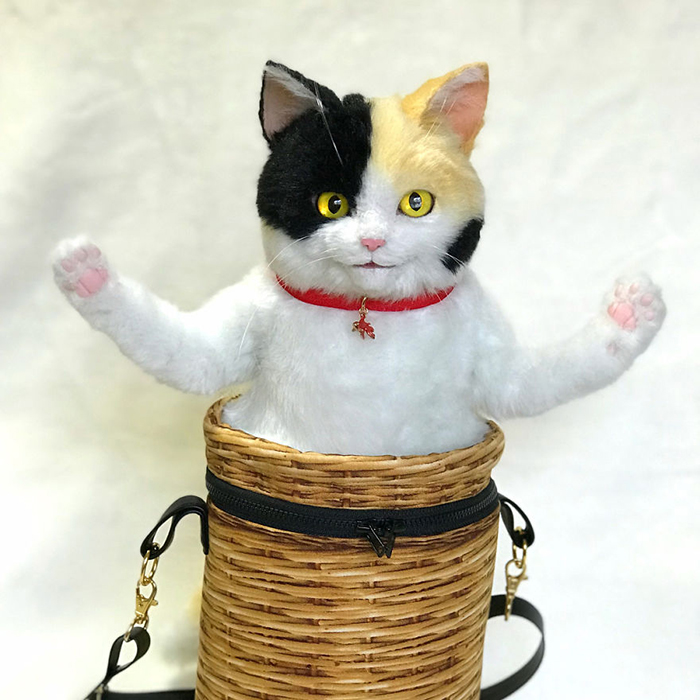 Lifelike Cat Plush Toy in a Bag