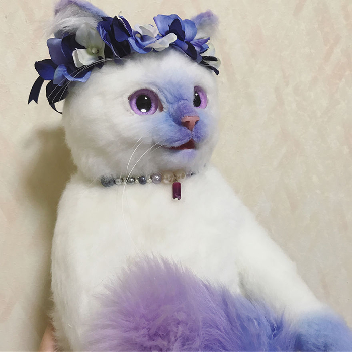 Lifelike Cat Plush Toy with Purple Flower Crown