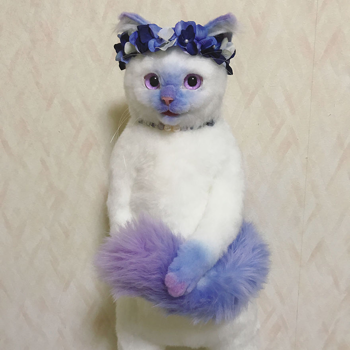 Lifelike Cat Plush Toy with Purple Tail