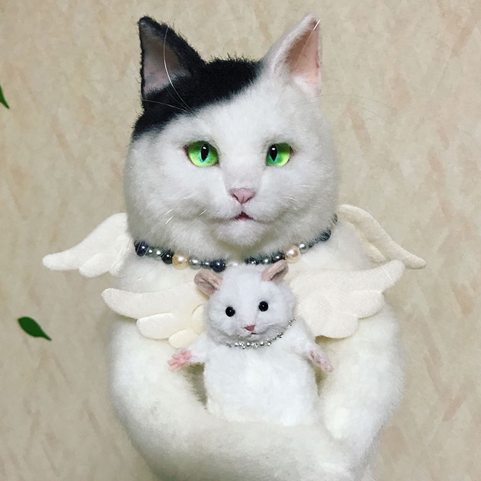 Lifelike Kitty and Hamster Stuffed Toys with Wings