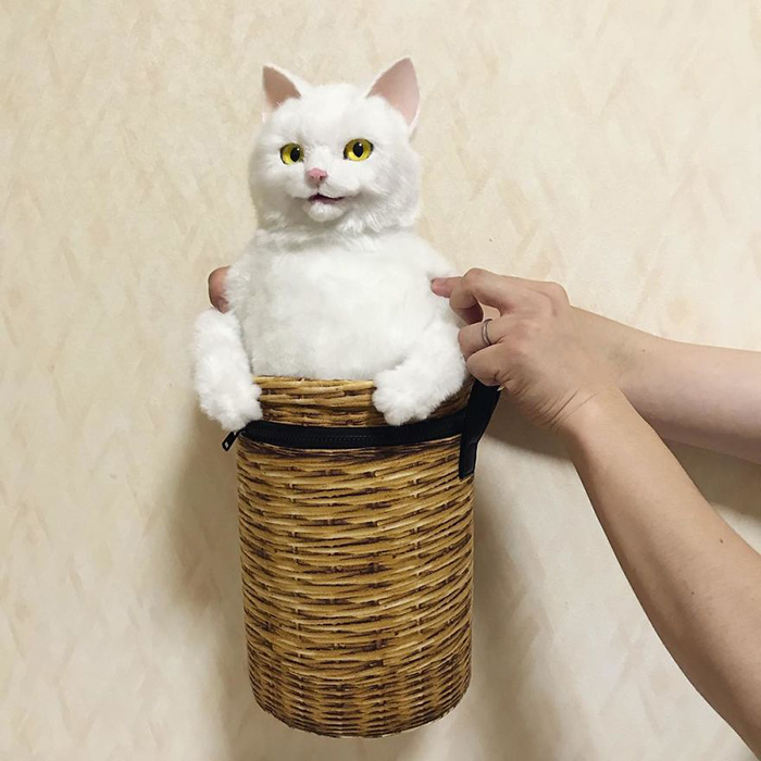 Lifelike White Cat Plush Toy in a Bag