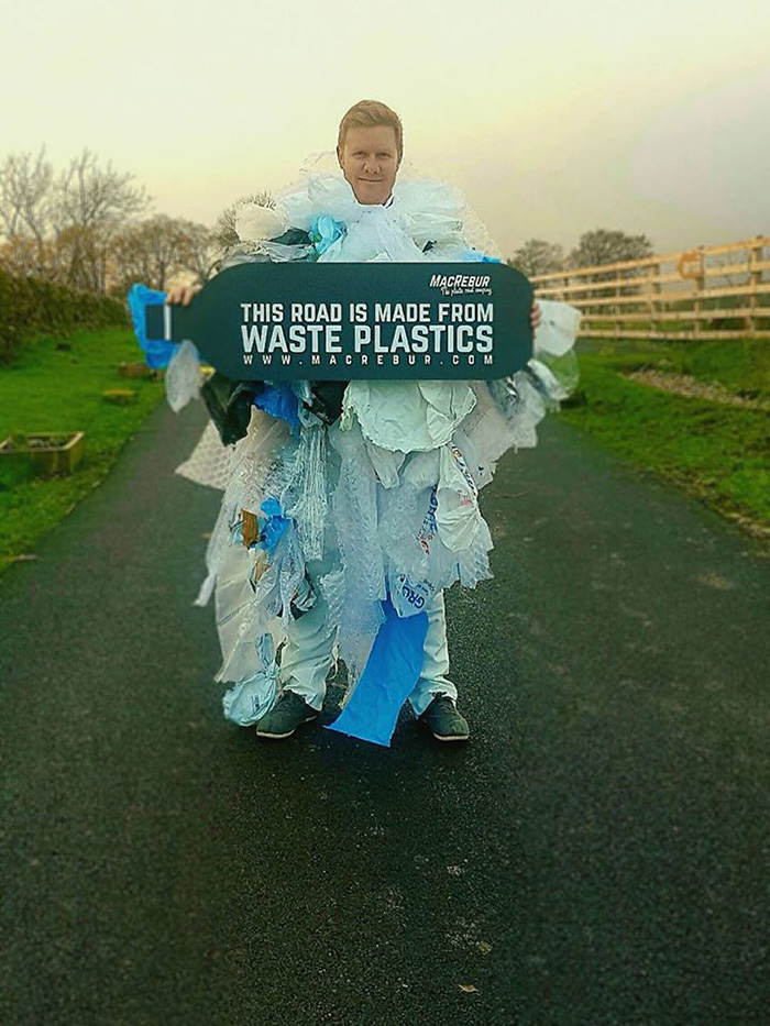 MacRebur CEO Toby McCartney Clad in Waste Plastics