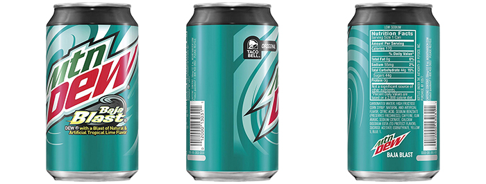 Mountain Dew Baja Blast Can Packaging
