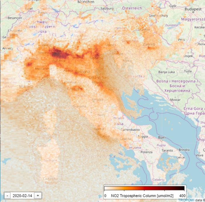 Nitrogen Level in Italy During Coronavirus Quarantine February 14