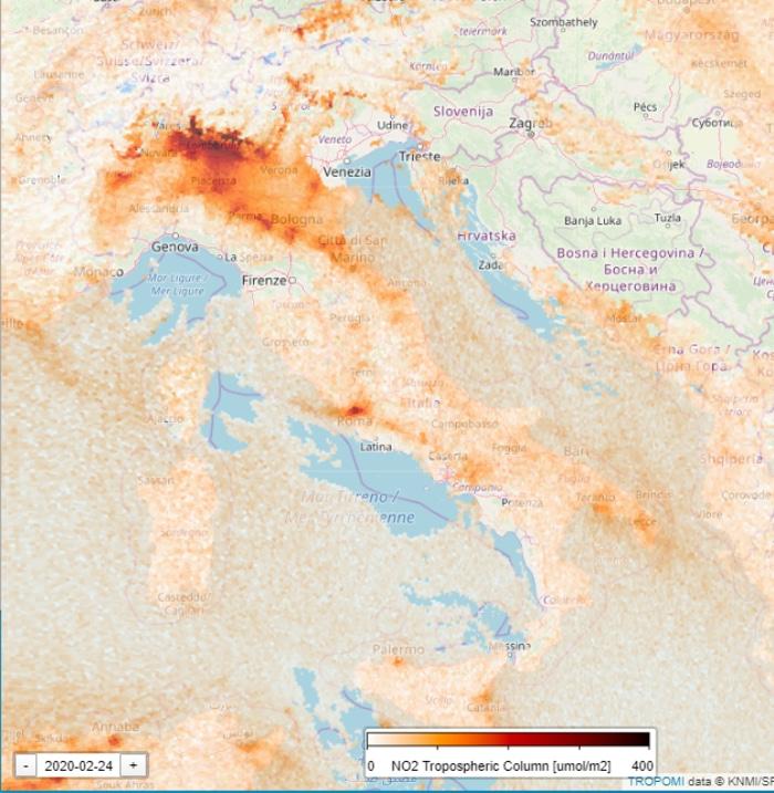 Nitrogen Level in Italy During Coronavirus Quarantine February 24