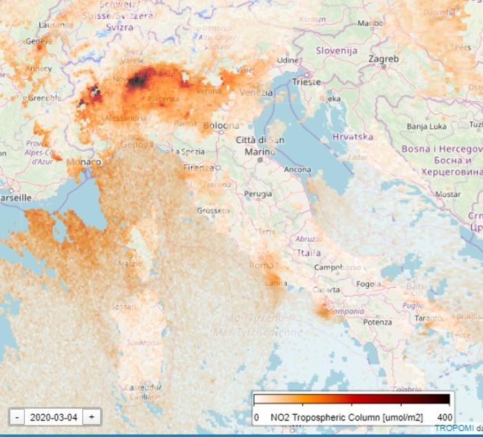 Nitrogen Level in Italy During Coronavirus Quarantine March 4