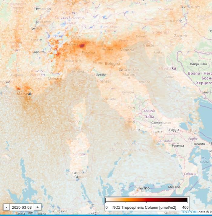 Nitrogen Level in Italy During Coronavirus Quarantine March 8