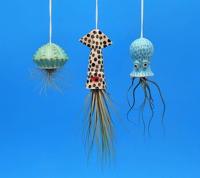 Ocean Animal Planters By Cindy Searles with polka dot squid