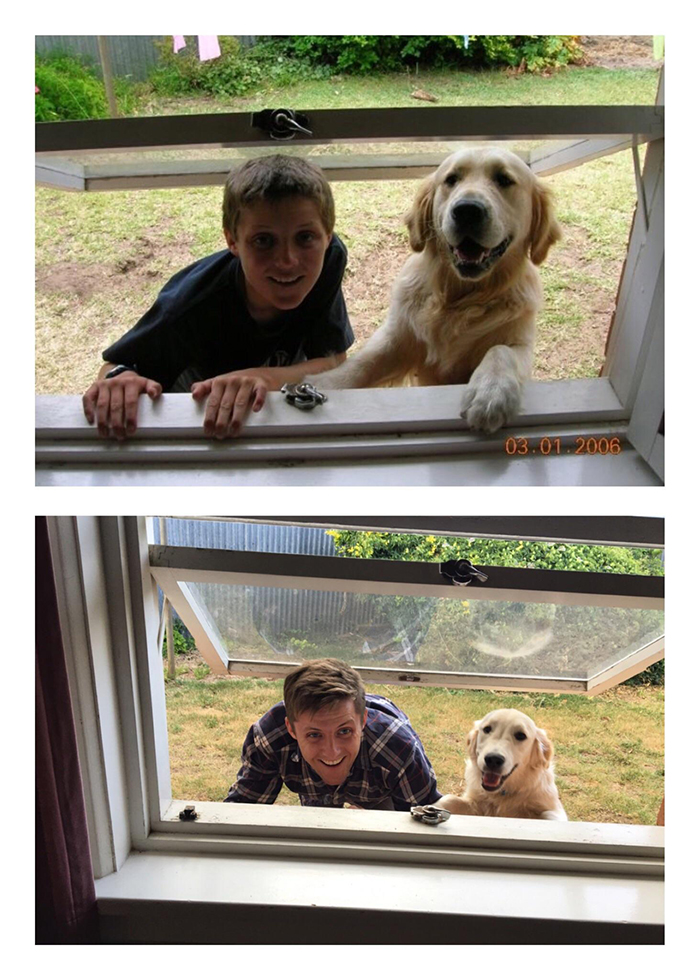 Owner and Dog Growing Up 11 Years Later