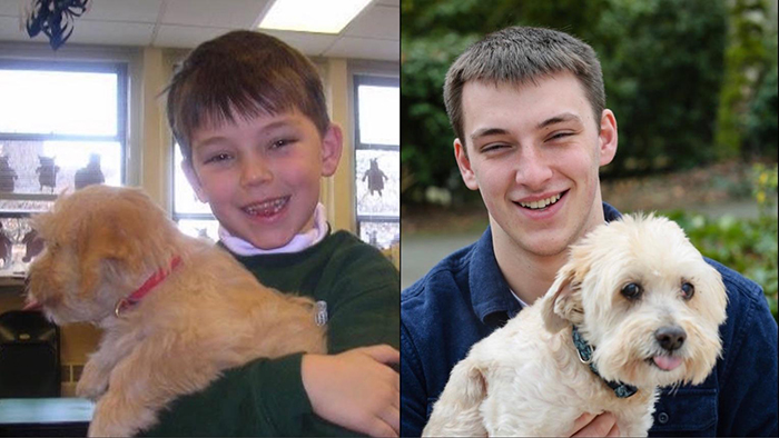Owner and Dog Growing Up Portrait Kindergarten to Senior Year