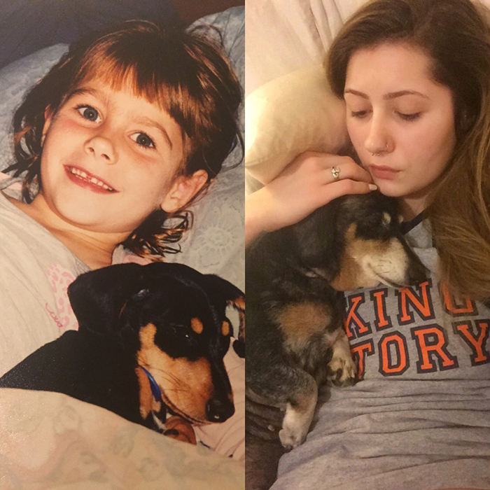 Owner and Puppy Growth Comparison 13 Years Later