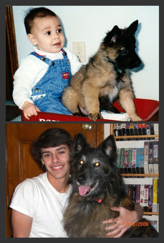 Owner and Puppy Growth Comparison 14 Years Later