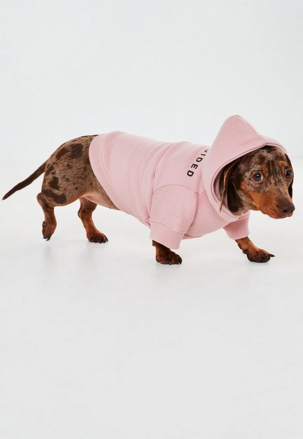 Pink Missguided Branded Hoodie For Small Dogs