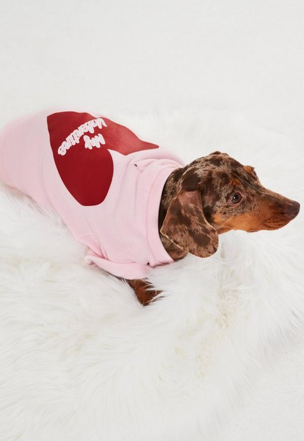 Pink Valentine Graphic Dog Sweatshirt
