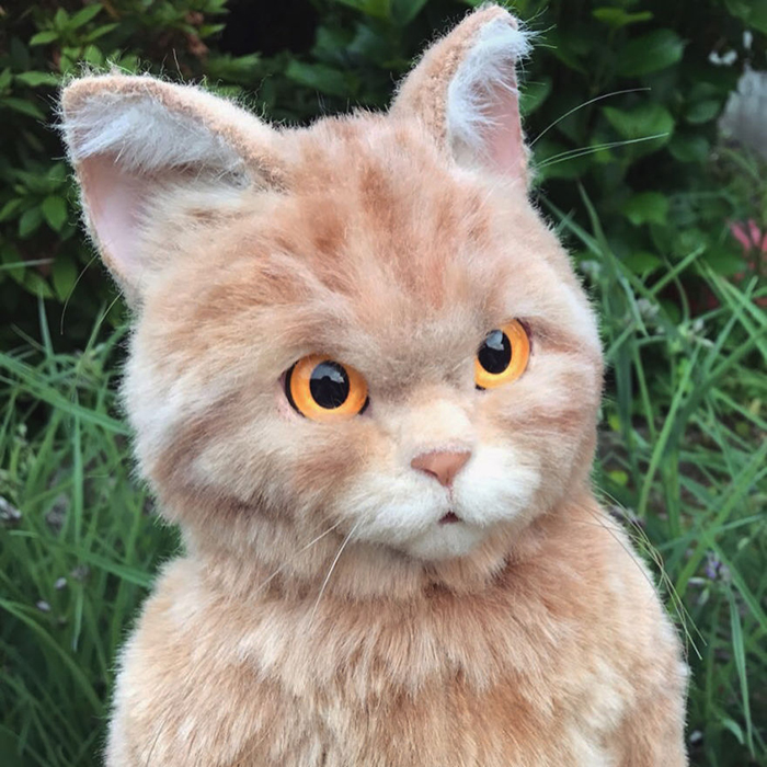 Realistic Brown Cat Plush Toy