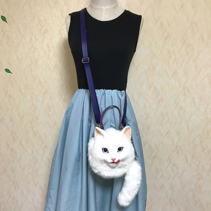 Realistic Cat-shaped Crossbody Bag