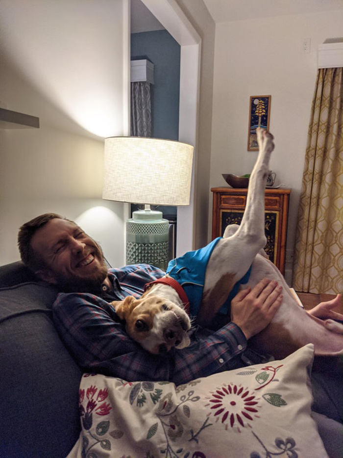 Rescue Dog Lying with Owner on Couch