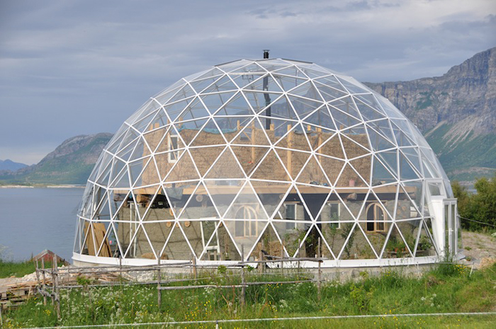 Solar Geodesic Dome Cob House from the side
