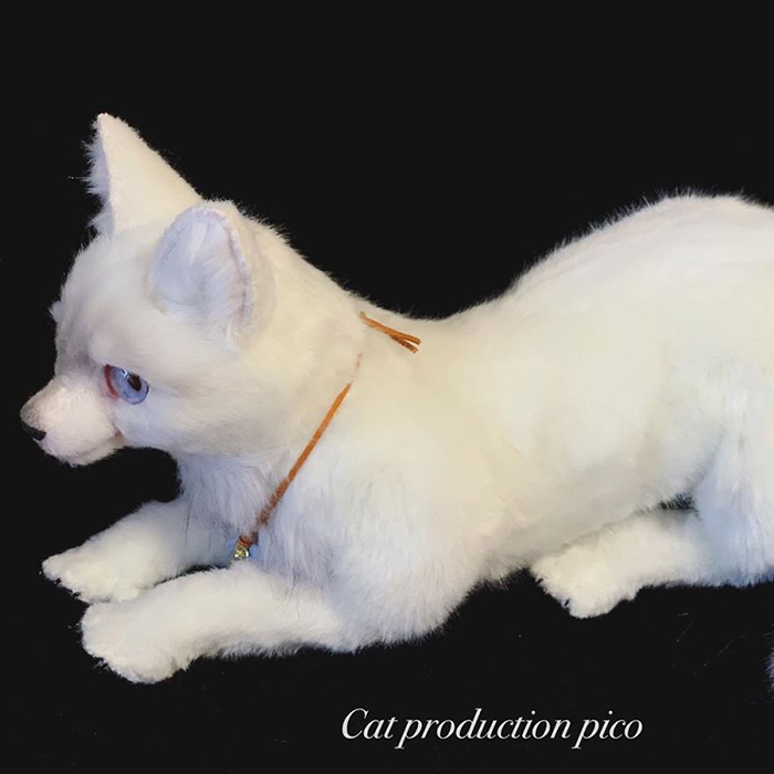 White Feline Stuffed Toy with Faux Fur