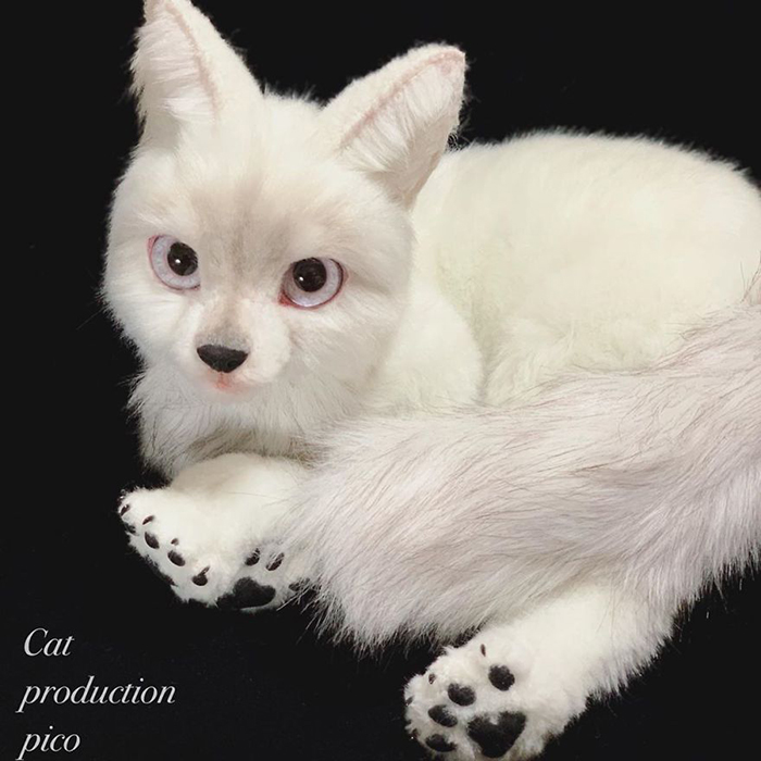 White Feline Stuffed Toy with Realistic Features
