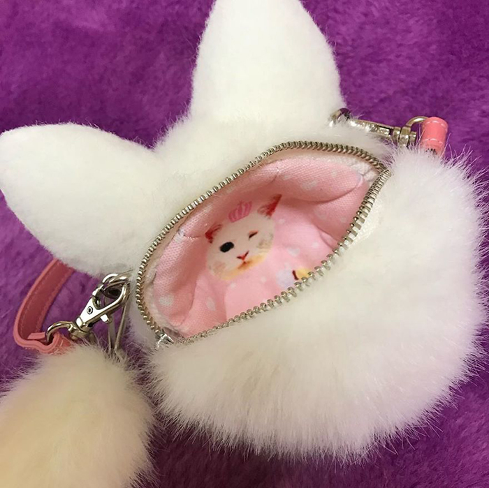 Winking Cat-shaped Bag Interior