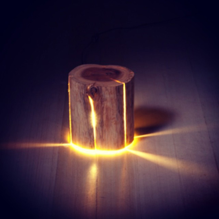 Wooden Light Fixture on Floor