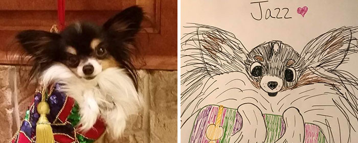 adorable drawing of fluffy dog