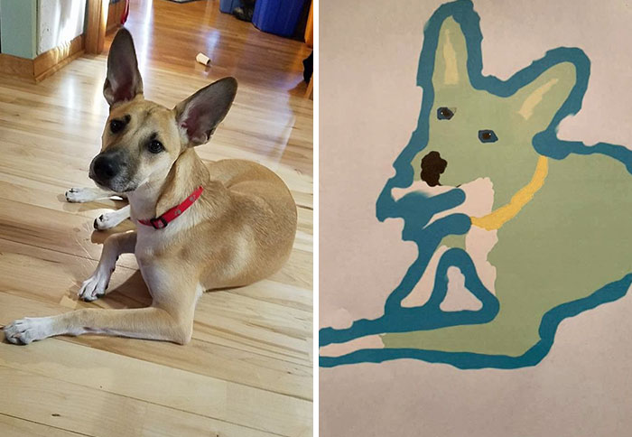 bad pet drawing dog potrait with teal outline