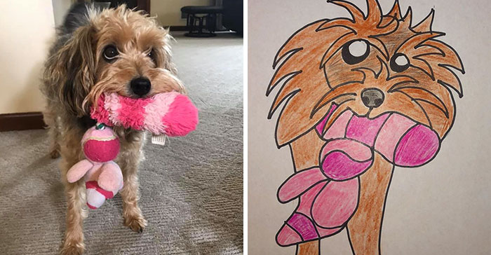 bad pet drawing of dog carrying her pink chew toy