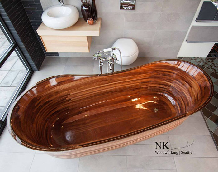 bathtub made out of wood