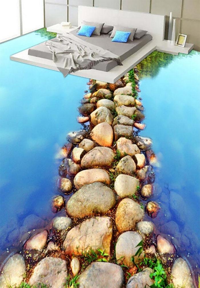 beach stones floor decal