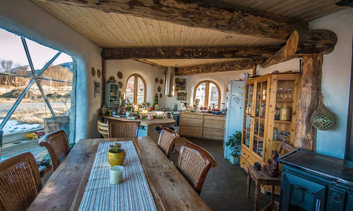 cob house kitchen and dining area
