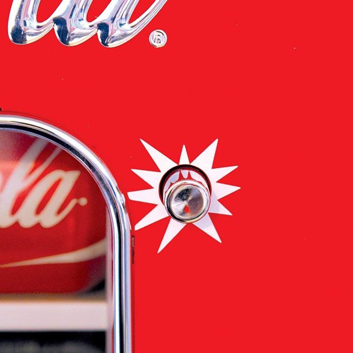 coca-cola vending machine push button