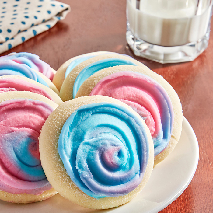 cotton candy frosted sugar cookies no sprinkles