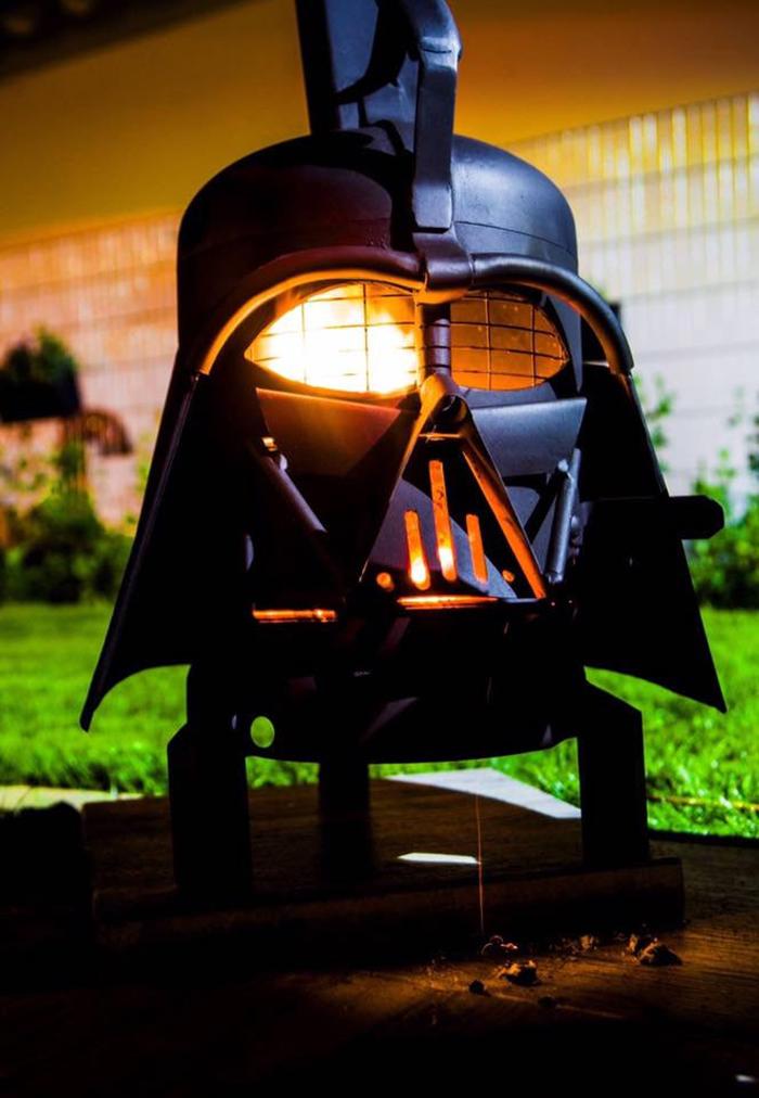 darth vader grill and wood burner dual purpose